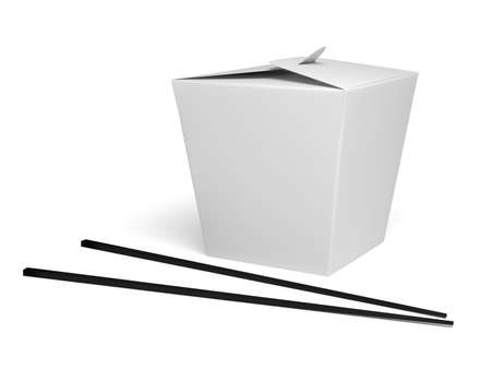 白い背景を持つ中華料理ボックス
