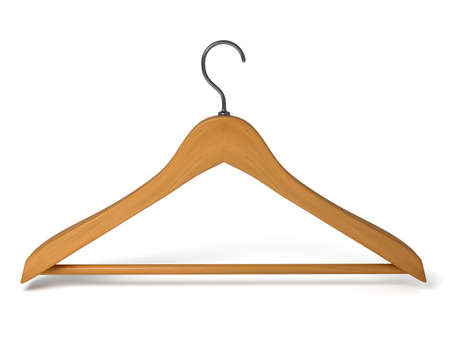 house coats: Wood hanger on the background  3d rendered Stock Photo