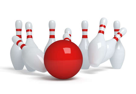 skittle: Bowling ball crashing into the pins Stock Photo