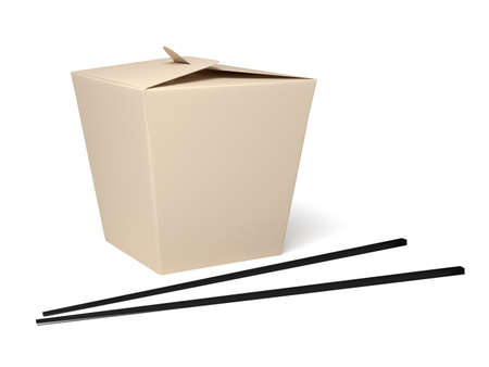 chinese cuisine: Chinese food box with white background