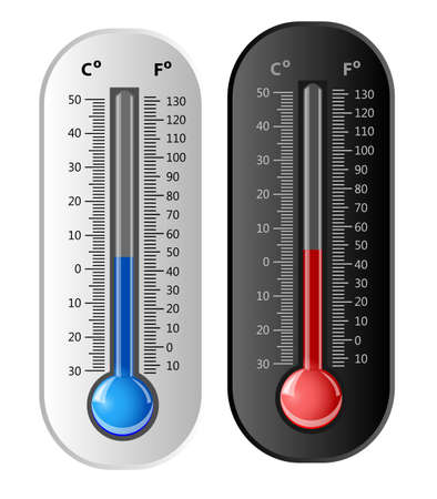 Thermometer white and black  Vector Vector