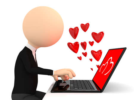 internet dating: render of chating person with laptop