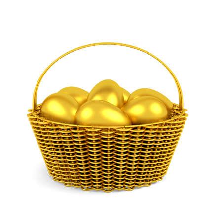 分離したバスケットで黄金のイースターの卵