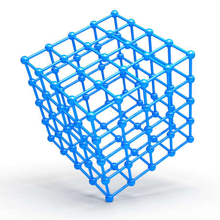 3D Cube and corner spheres photo
