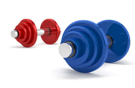 Two dumbbells over white background photo