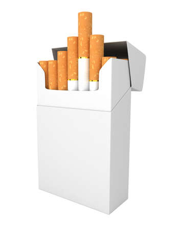 Open full pack of cigarettes isolated on white background Imagens