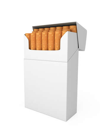 Open full pack of cigarettes isolated on white background photo