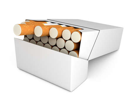 Open full pack of cigarettes isolated on white background Stock Photo