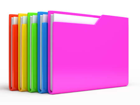 Rainbow folders   Isolated on white background photo