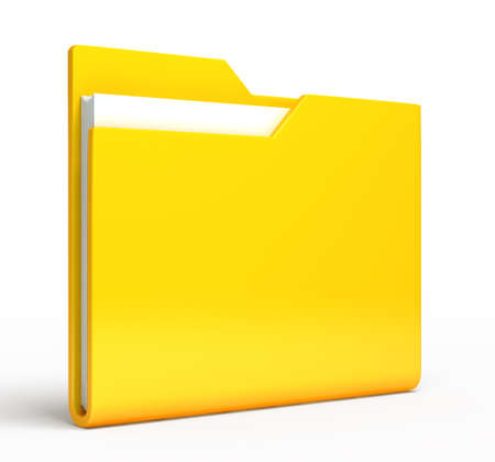 Yellow folder   Isolated on white background photo