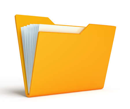 Yellow folder.  Isolated on white background photo
