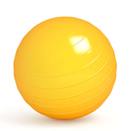 Orange fitness ball isolated on white  3d render photo