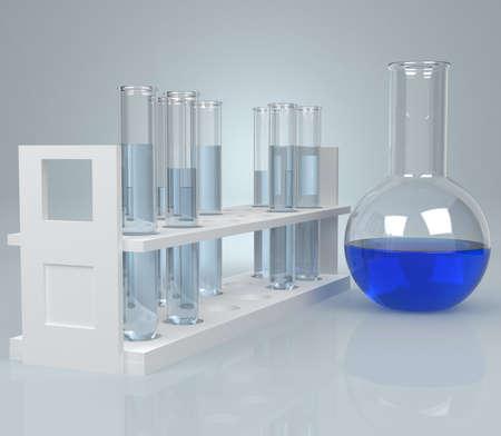 industria quimica: Tubo de ensayo con el líquido azul. Generado por ordenador Foto de archivo