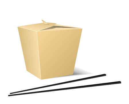Chinese food box with white background  3d rendered