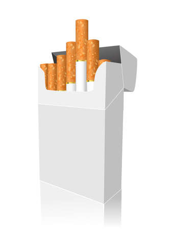 tobacco product: Open full pack of cigarettes isolated on white
