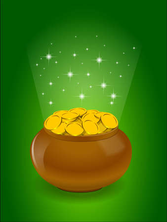 golden pot: Pot full of golden coins