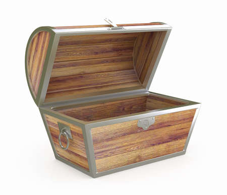 Ancient wooden treasure chest  3d rendered image photo