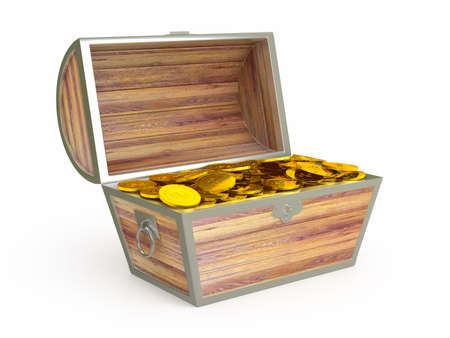 Ancient wooden treasure chest. 3d rendered image photo