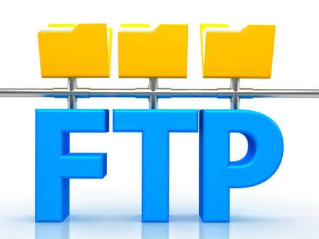 file transfer: 3d illustration of FTP ( File transfer Protocol )