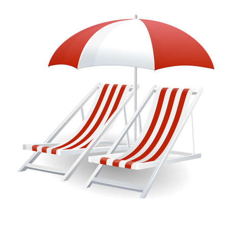 beach umbrella: Chair and beach umbrella isolated on white  Illustration
