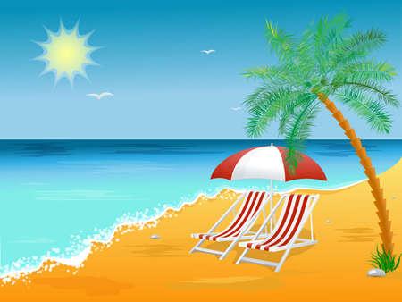 Vacances d'été plage affiche de fond avec une chaise.
