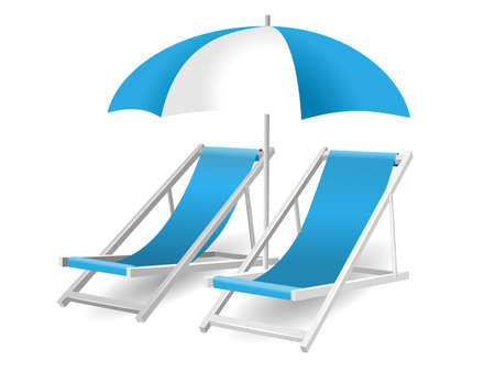 Chair and beach umbrella isolated on white  Illustration