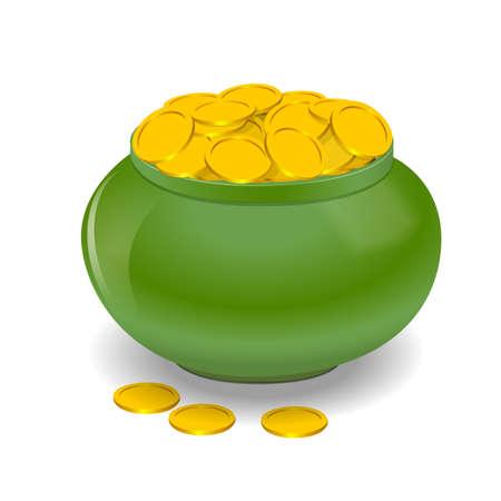 Pot full of golden coins Vector