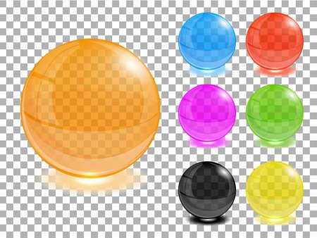 Any color transparent glass balls set   Vector