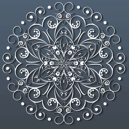 Ornamental round white lace, flower. vector illustration Vector