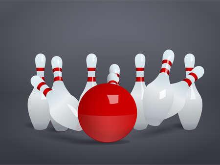 crashing: Bowling ball crashing into the pins Illustration