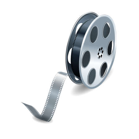 roll film: Vector film reel  over white background