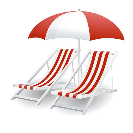 outdoor furniture: Chair and beach umbrella isolated Illustration