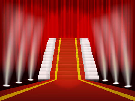 осветительное оборудование: Красный ковер и лестницы для церемонии награждения Иллюстрация