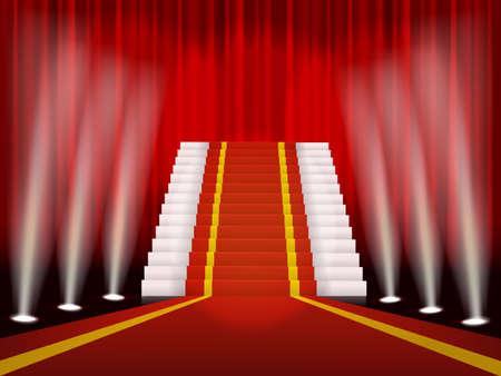 レッド カーペットとやりがいのある式の階段  イラスト・ベクター素材
