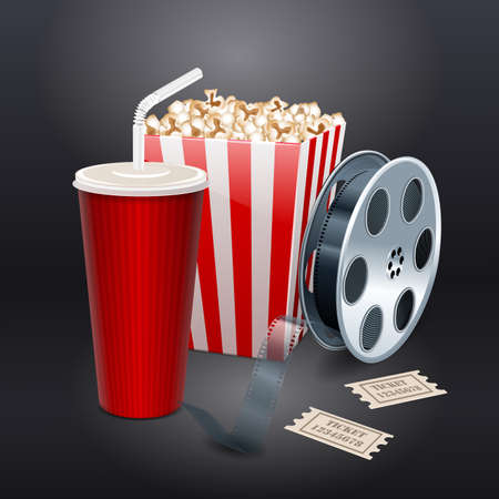 Movie showing with Popcorn, film reel and drinks Vector