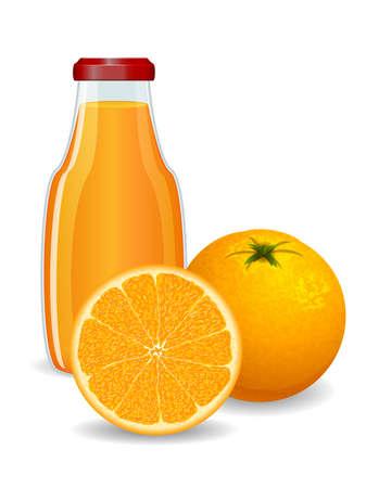 photo realism: Bright orange with juice on white background Illustration