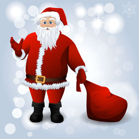 santa sack: Santa Claus with red sack over white Illustration