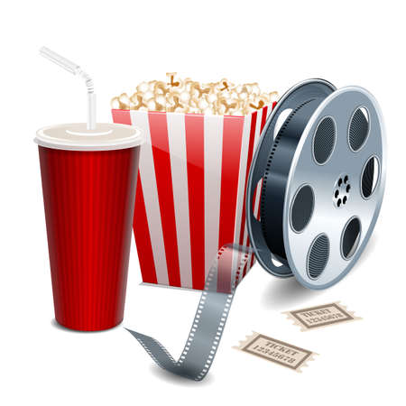 Movie showing with Popcorn, film reel and drinks