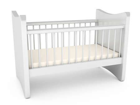 nursery room: Baby cot over white background