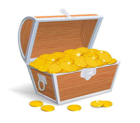 Pecho de madera llena de monedas de oro Foto de archivo - 35763091