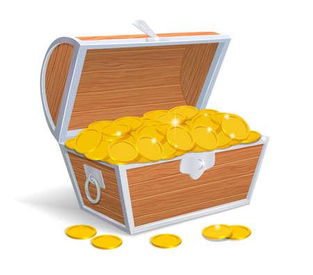 monete antiche: Petto di legno pieno di monete d'oro