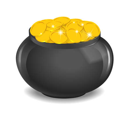 Pot full of golden coins Vector