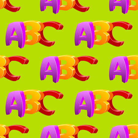 childlike: Childlike doodle ABC seamless pattern, flat design.