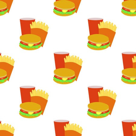sesame seed: Seamless background with cartoon style fastfoods