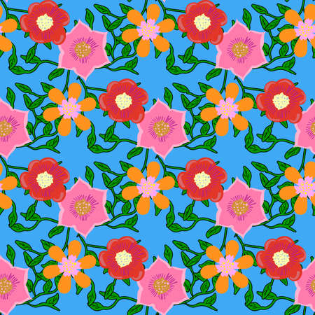 plant design: Seamless color pattern with flowers. Illustration