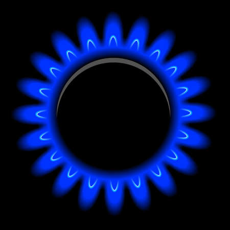natural phenomena: Vector flames of gas on black background Illustration