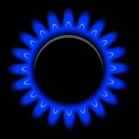 burner: Vector flames of gas on black background Illustration