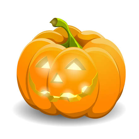 indulgence: Pumpkin isolated on white. Realistic vector illustration.