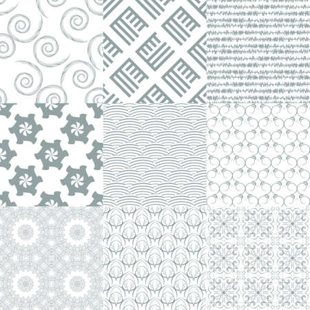 diagonal: Vector of Seamless Patterns set.