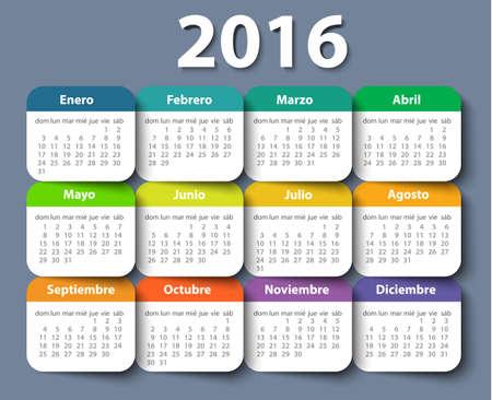 カレンダー 2016 年ベクトルのデザインは、スペイン語のテンプレートです。